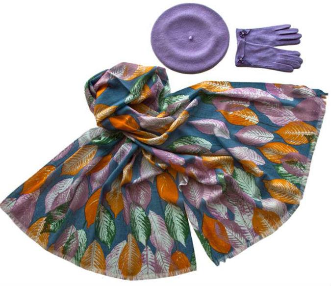 Комплект (берет, палантин, перчатки) Tonak/Tranini 45076 фиолетовый фото