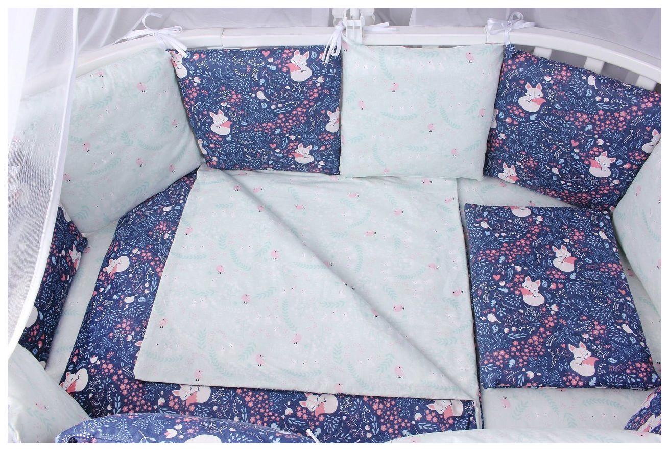 Комплект в кроватку AmaroBaby Лисички 15 предметов (3+12 подушек-бортиков) бязь, синий