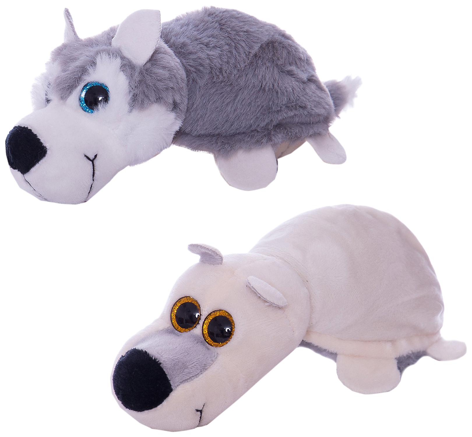 """Волк/Белый медведь 16 см. Игрушка мягкая серии """"Перевертыши"""" ABtoys"""