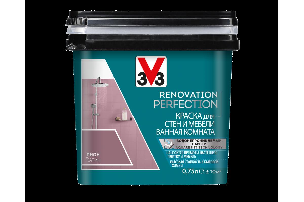 Краска V33 для стен и мебели в ванной комнате Renovation Perfection Цвет пион