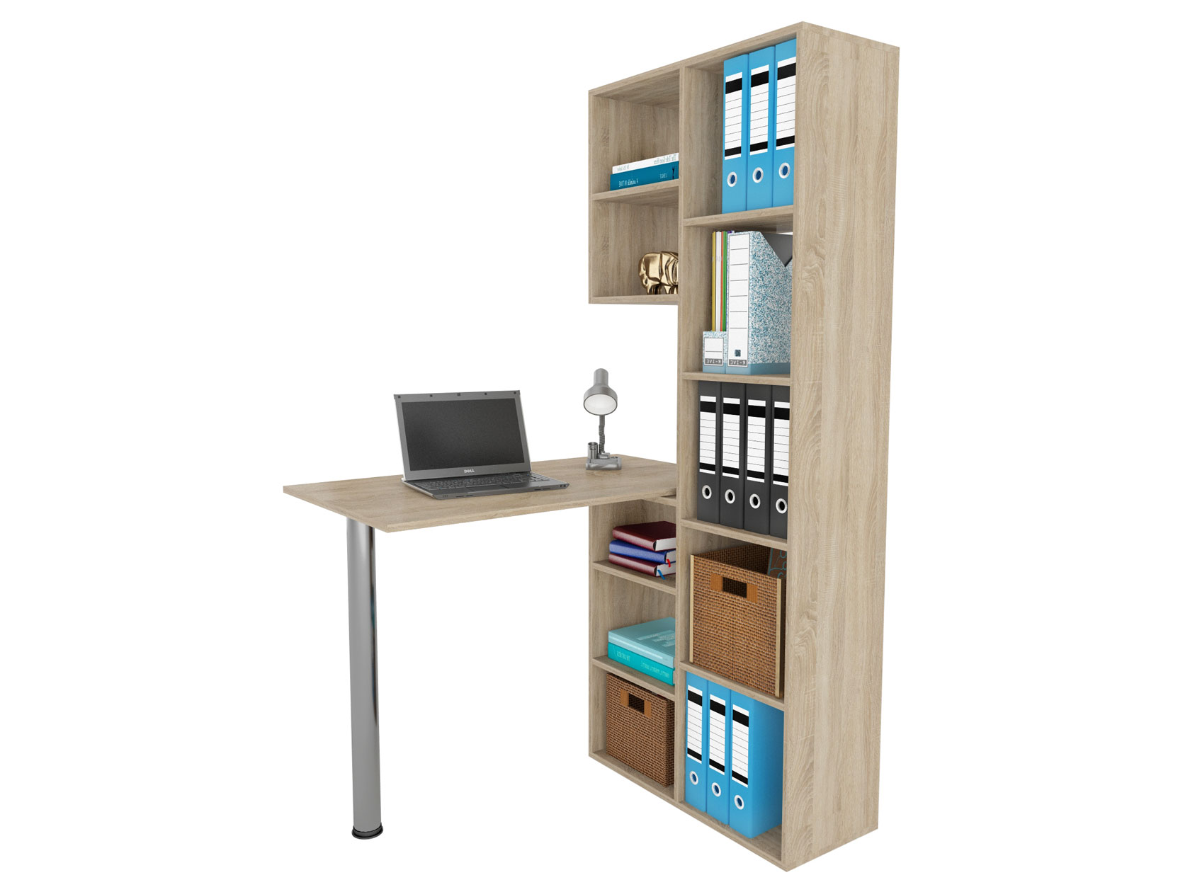 Компьютерный стол в комплекте МФ Мастер Рикс-2+Рикс-6 110x97,8x171,6, дуб сонома