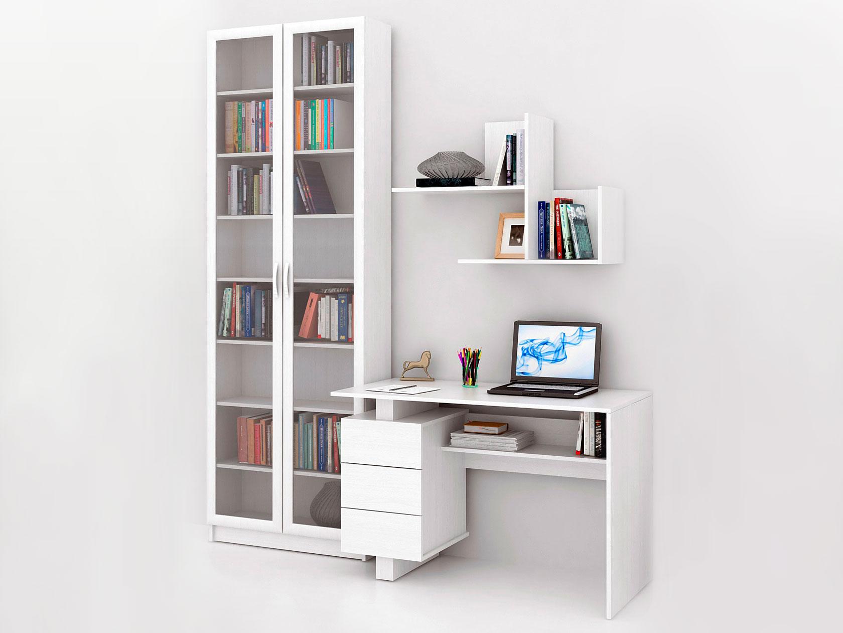 Компьютерный стол в комплекте МФ Мастер Ренцо-2+Милан-45+Файн-172 213,6x60x240, белый