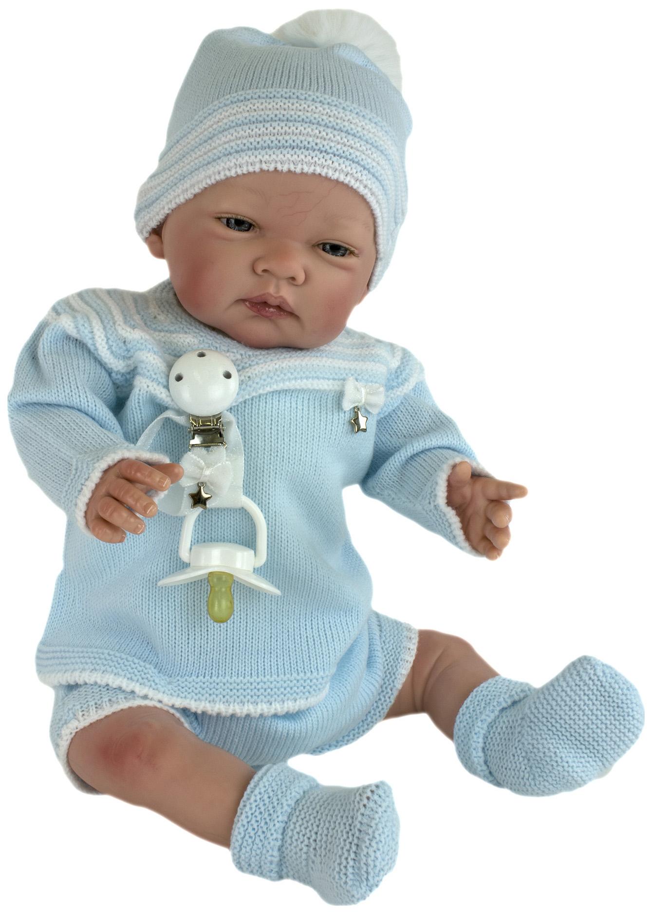 Пупс Nines d'Onil Новорожденный малыш, в голубой вязаной одежде, в шапочке