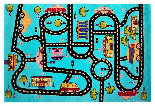 Купить Ковер детский цвет голубой 60 x 110 арт, УКД-2039, Kamalak tekstil, Коврики для детской