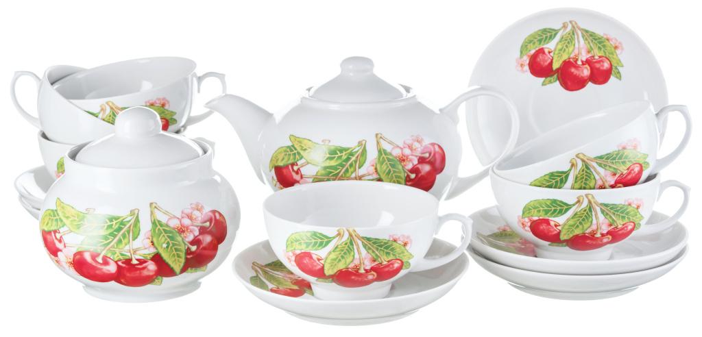 Чайный сервиз Дулево Дачный Вишня 14 предметов