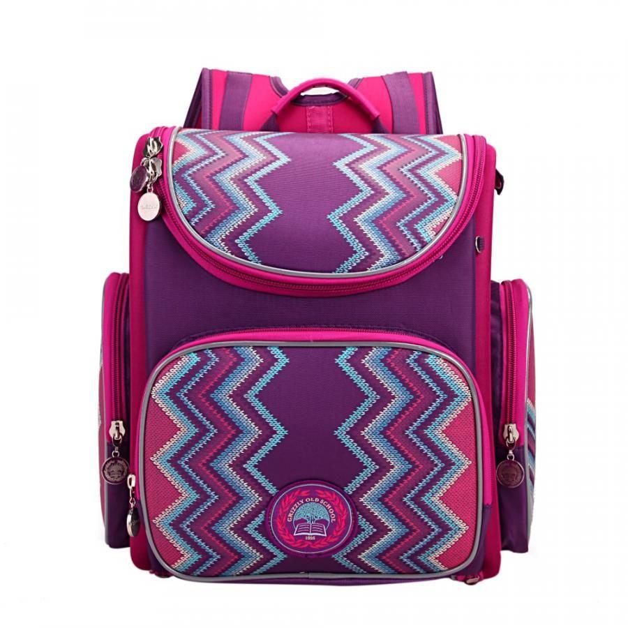 Купить Школьный Рюкзак для девочки Grizzly Ra-871-6 Фиолетовый, Школьные рюкзаки для девочек