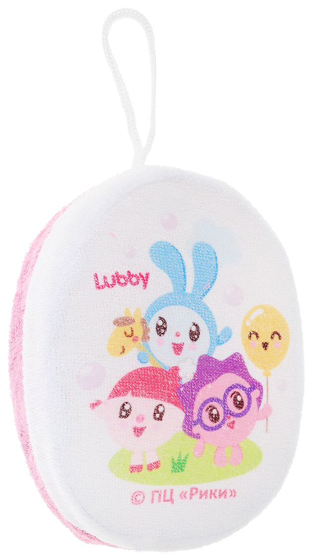 Мочалка LUBBY малышарики хлопок розовый