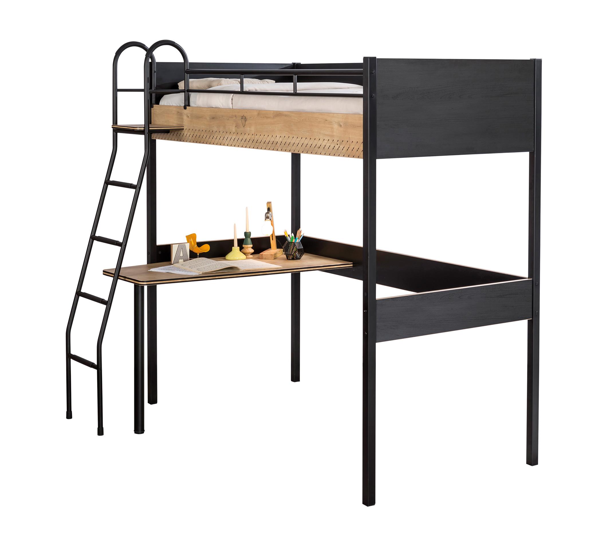 Кровать-чердак Cilek Black со столом