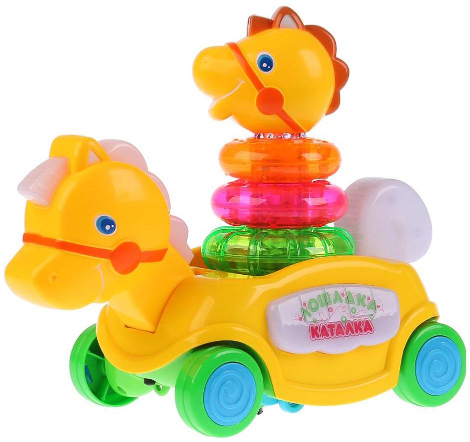 Купить Каталка детская Умка КАТАЛКА-ЛОШАДКА желтый, Игрушки-каталки