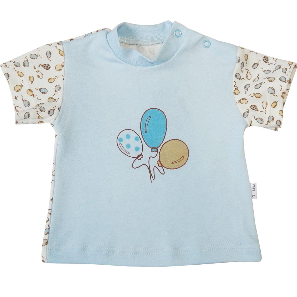 Купить Футболка детская Папитто Воздушные шарики гол/гол И470-37 р.68, Детские футболки, топы