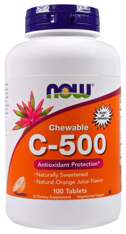 Купить C-500 Chewable апельсин, Витамин C NOW C-500 Chewable 100 табл. апельсин