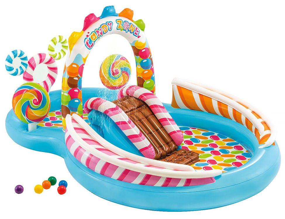 Купить Надувной игровой центр intex территория сладостей с горкой 295х191х130 см, от 3 лет, Детские бассейны