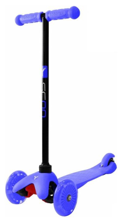 Купить Самокат Y-SCOO mini A-5 Shine blue со светящими колесами, Самокаты детские трехколесные