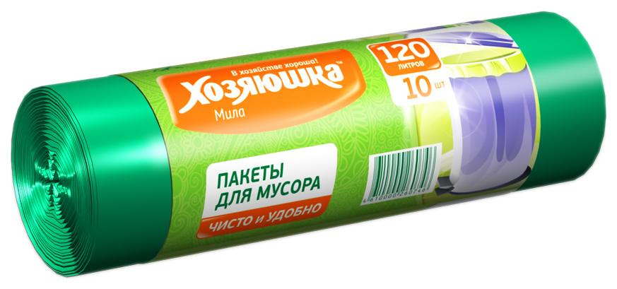 Пакеты для мусора Хозяюшка Мила в рулоне 120 л 10 шт