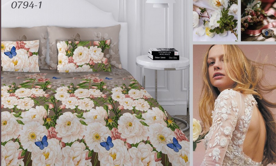 Комплект постельного белья Текстильная лавка Белые цветы полутороспальный