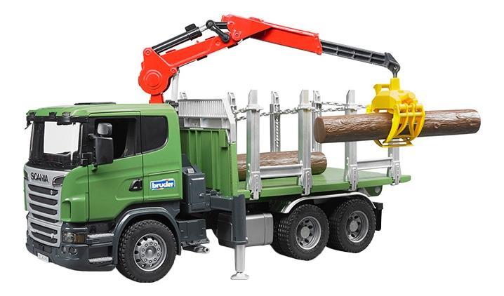 Купить Лесовоз Bruder Scania с портативным краном и брёвнами,