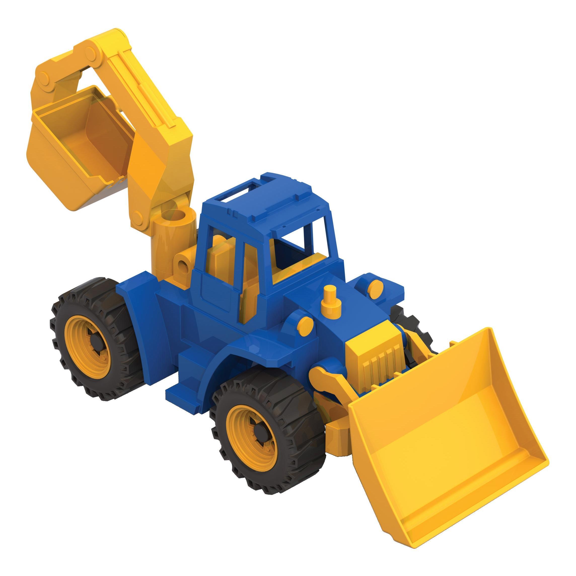 Трактор Нордпласт Ангара с грейдером и ковшом фото