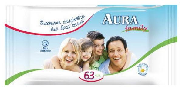 Купить Влажные освежающие салфетки Aura Family 63 шт (931218), family освежающие