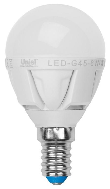 Лампа светодиодная (UL-00000694) E14 6W 3000K шар матовый LED-G45-6W/WW/E14/FR/DIM PLP01WH