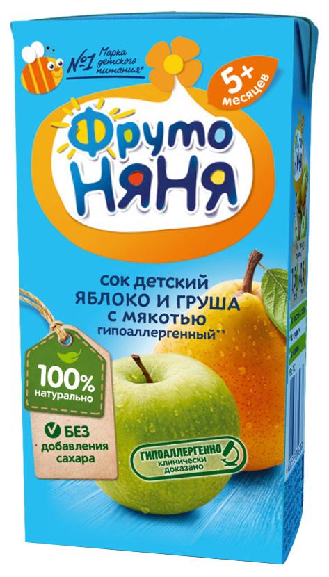 Сок ФрутоНяня Яблоко и груша с мякотью