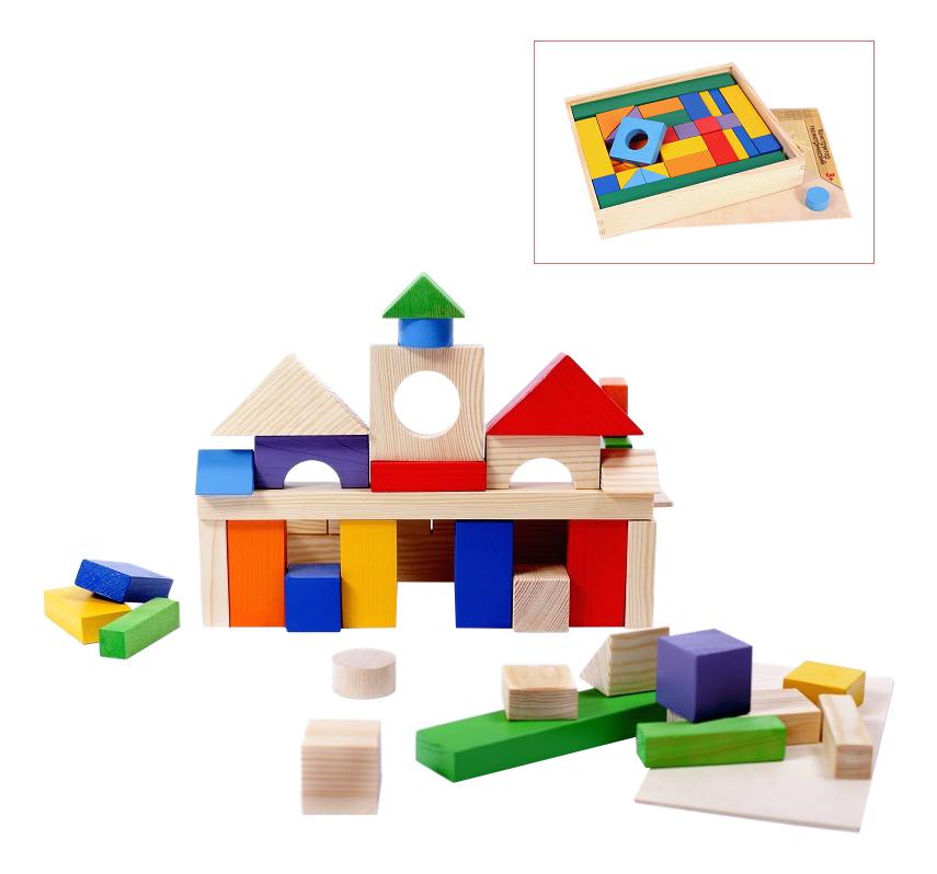 Купить Конструктор деревянный PAREMO 51 деталь окрашенный, Деревянные конструкторы