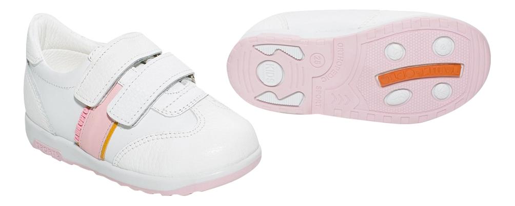 Купить С логотипом бело-розовые 25 размер, Кроссовки детские Таши Орто с логотипом бело-розовые р.25, Детские кроссовки