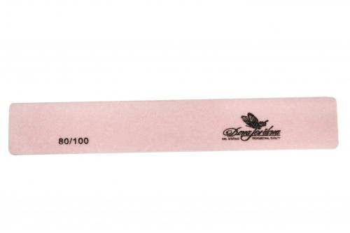 Купить Пилка для искусственных ногтей Dona Jerdona 80/100 прямоугольная широкая розовая