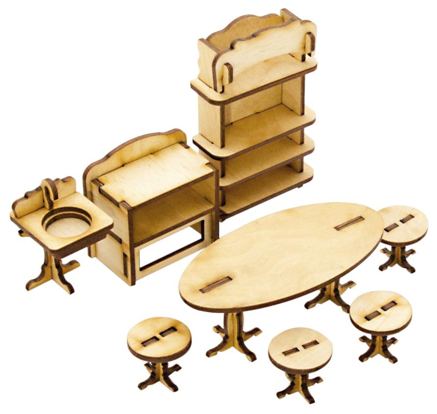 Купить Сборная деревянная модель мебели для кукол Кухня Теремок, Модели для сборки