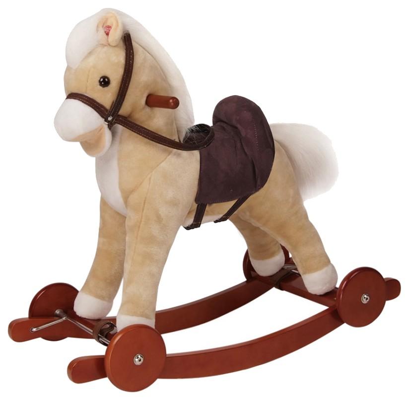 Купить Качалка-пони Pituso panadero с колесами, плюшевая, музыкальная (бежевая), 74x30x62 см, Качалки детские