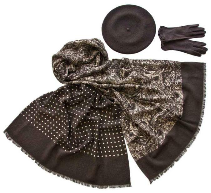Комплект (берет, палантин, перчатки) Tonak/Tranini 45078 коричневый фото