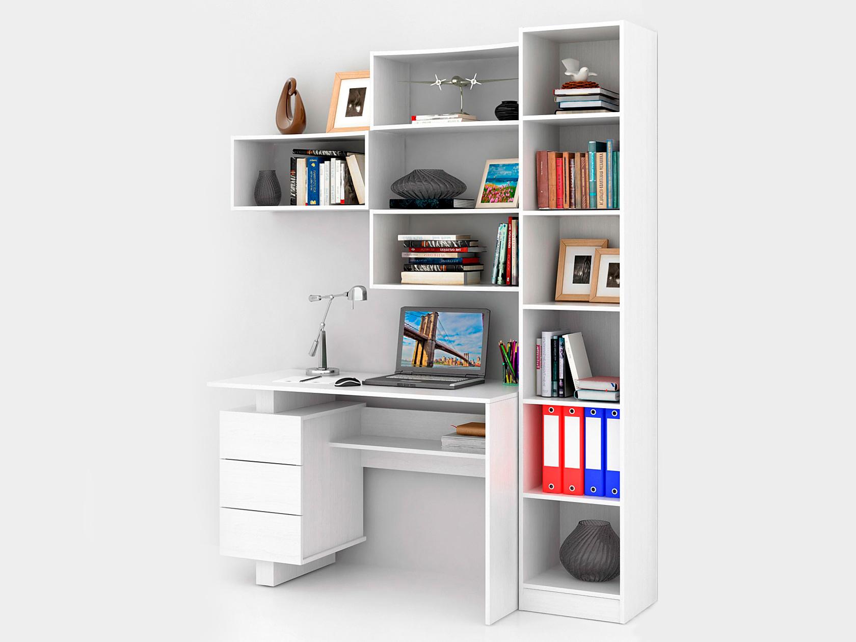 Компьютерный стол в комплекте МФ Мастер Ренцо-2+Авант-4+Вейв-7 160x60x180, белый