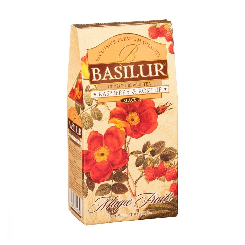 Чай Basilur Волшебные фрукты - Малина и шиповник черный с добавками 100 г фото