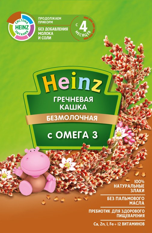 Каша безмолочная Heinz гречневая с Омега 3, 4 мес., 15шт