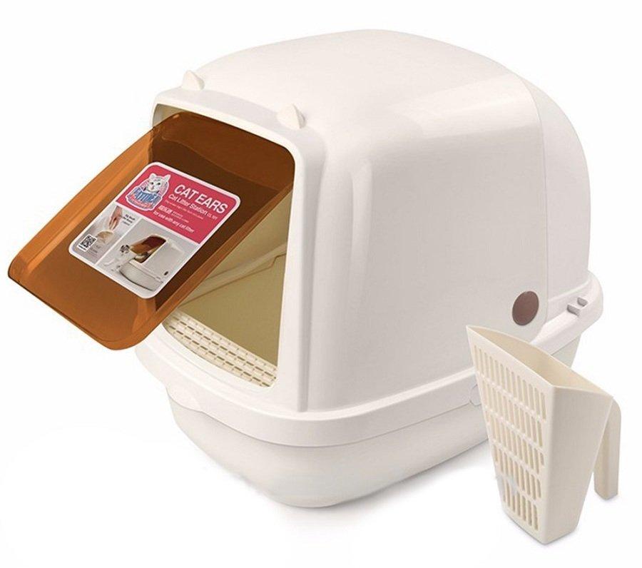Туалет-домик Catidea совок дверь для кошек (52 х 38 х 42 см, Кремовый)