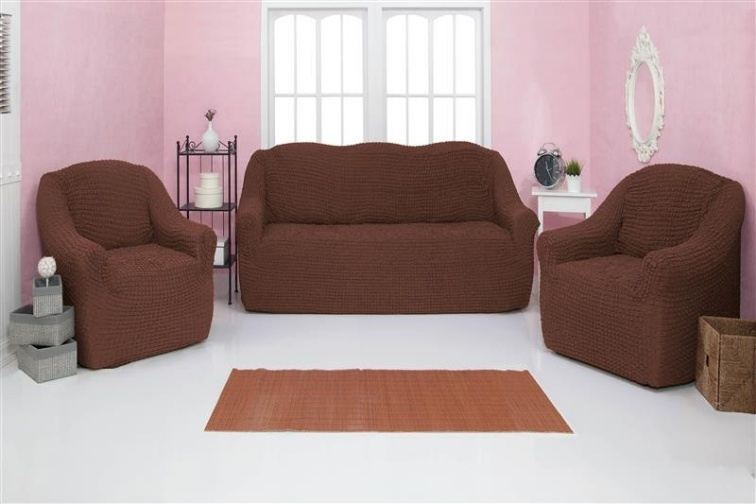 Комплект чехлов на диван и кресла без оборки CONCORDIA, тёмно-коричневый, 3 предмета
