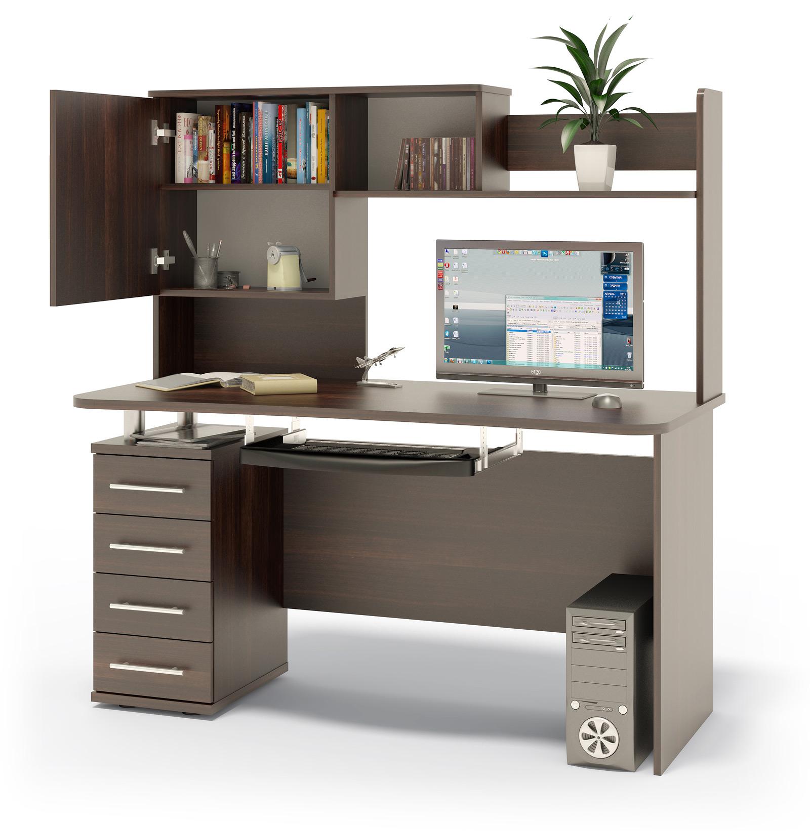 Компьютерный стол в комплекте СОКОЛ КСТ-105.1+КН-14 140x60x147, дуб венге