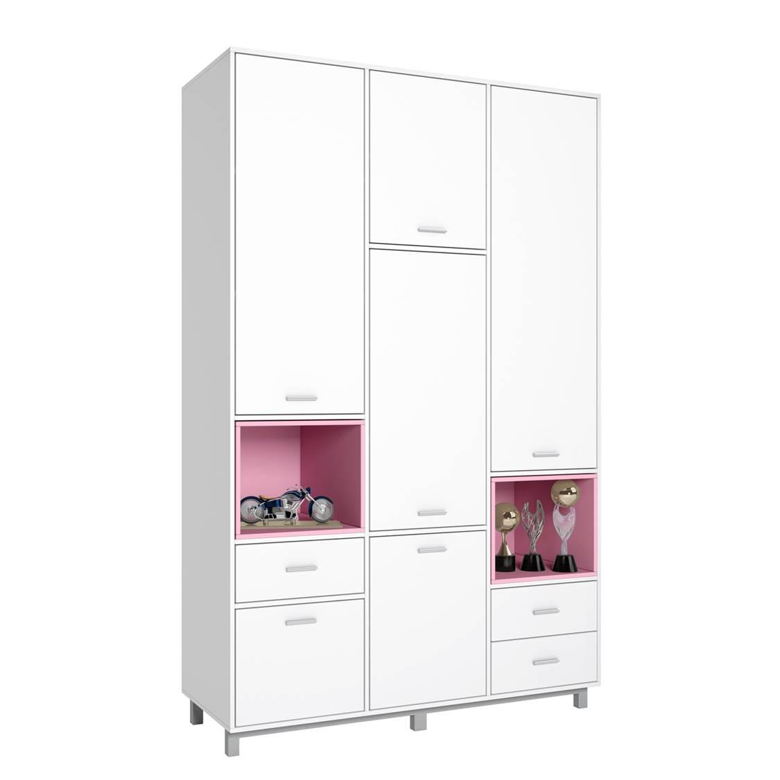 Купить Детский шкаф трехсекционный Polini kids Mirum 2335, белый/розовый, Шкафы в детскую комнату
