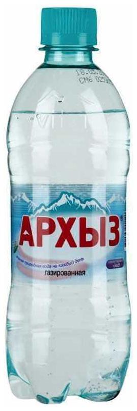 Минеральная вода Архыз газированная пластик 0.5 л 12 штук в упаковке