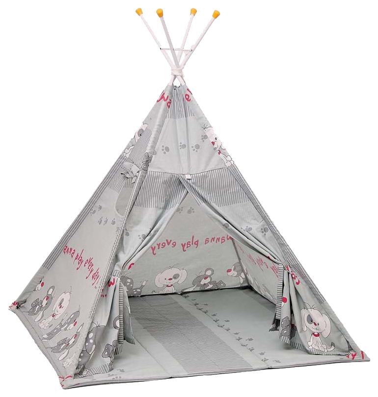 Игровая палатка Polini kids Веселая игра вигвам серый