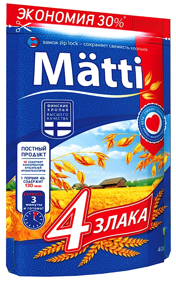 Каша Matti 4 злака быстрого приготовления 400 г