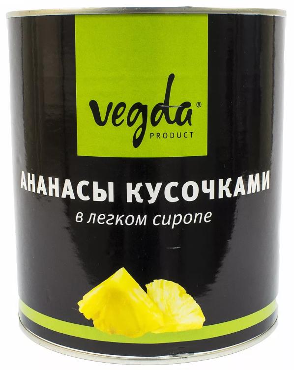 Ананасы Vegda в сиропе кусочками 3.1 л