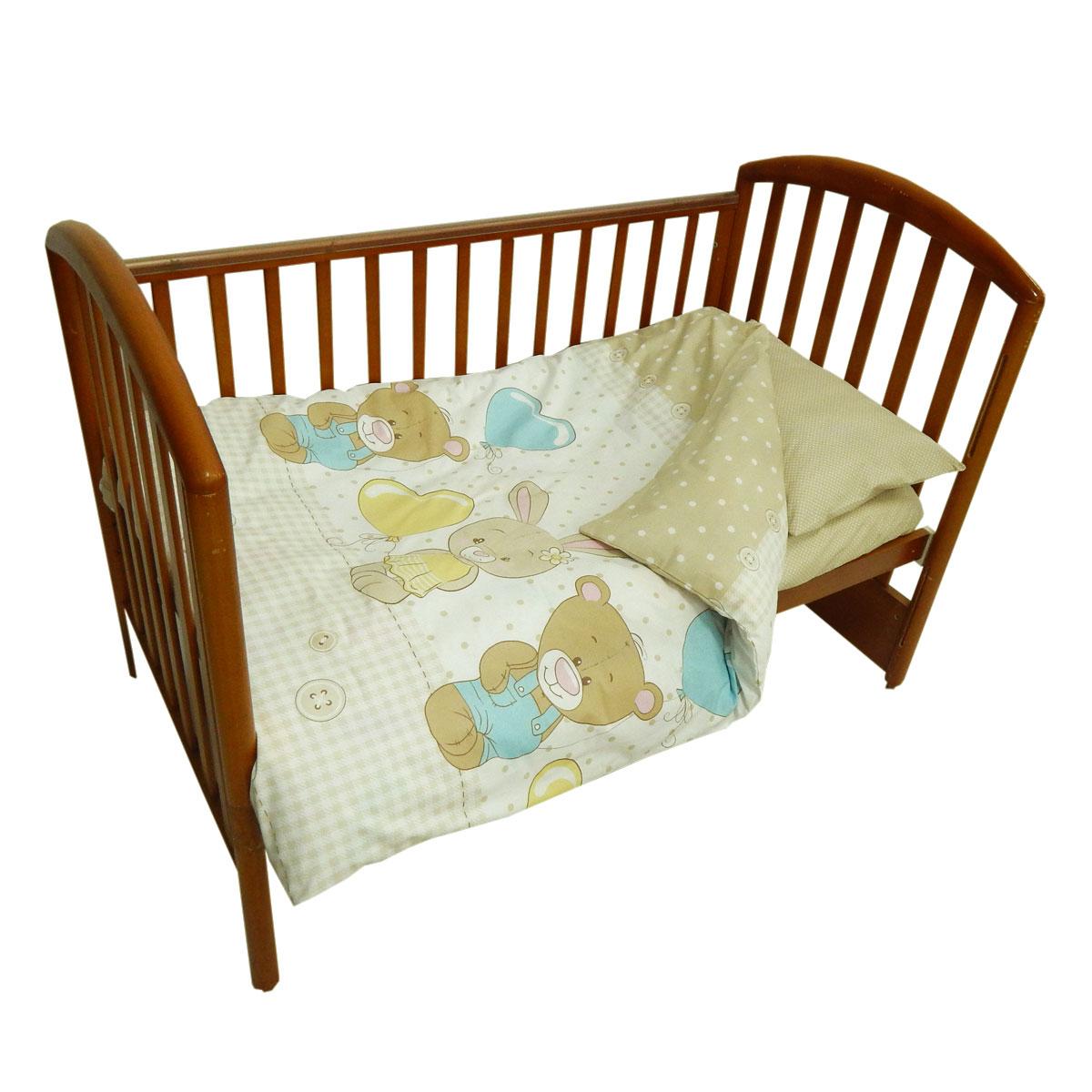 Детское постельное белье Папитто 147*112 простыня на резинке Друзья бежевый 6047