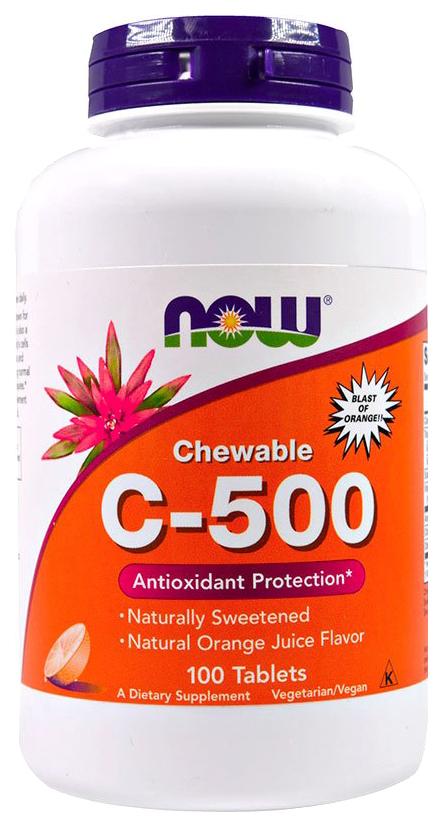 C-500 Chewable вишня, Витамин C NOW C-500 Chewable 100 табл. вишня  - купить со скидкой