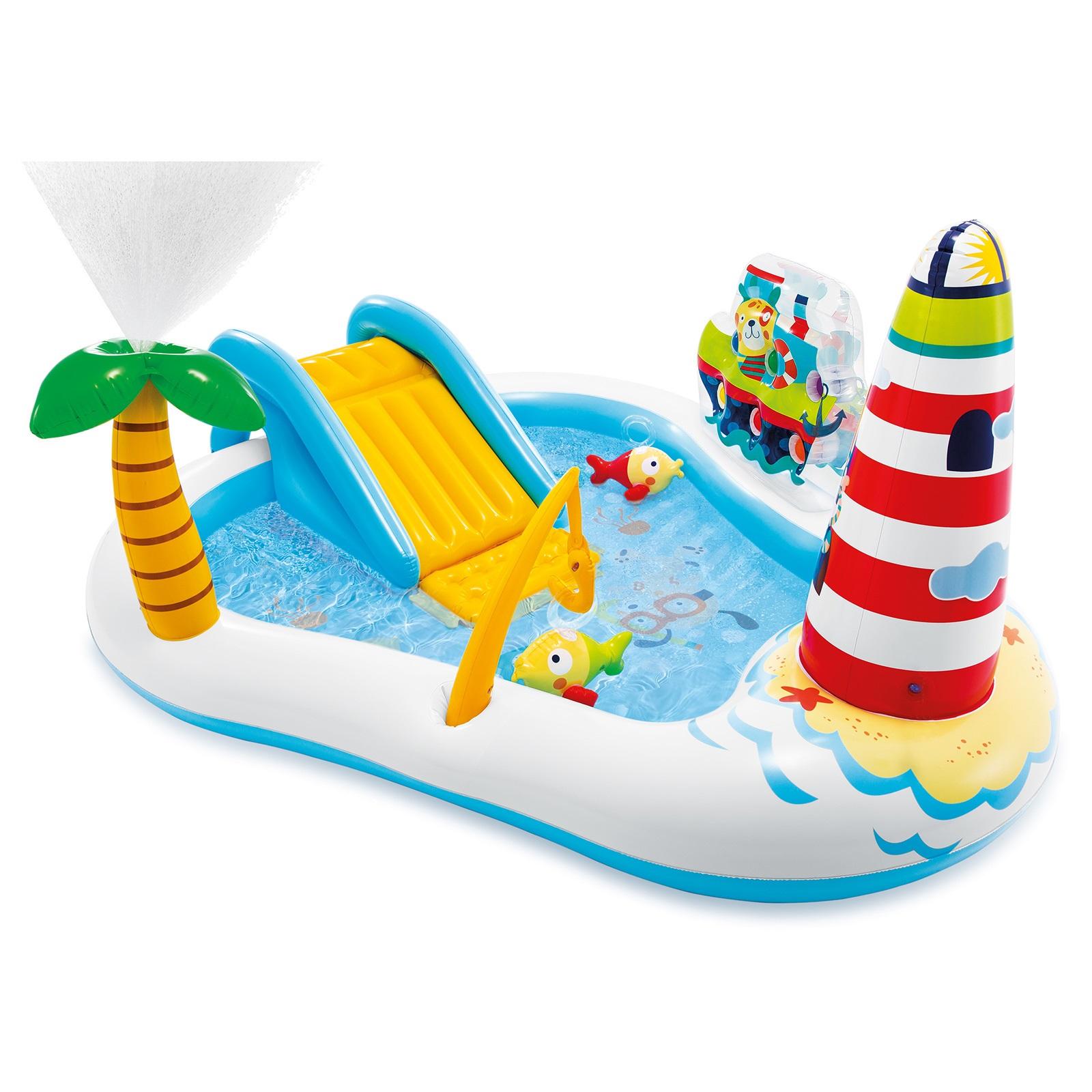 Купить Надувной игровой центр веселая рыбалка с горкой и фонтанчиком, 218х188х99 см, от 3 лет, INTEX, Детские бассейны