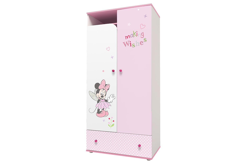 Купить Детский шкаф двухсекционный Polini Kids Disney Baby «Минни Маус Фея» Белый/Розовый, Шкафы в детскую комнату