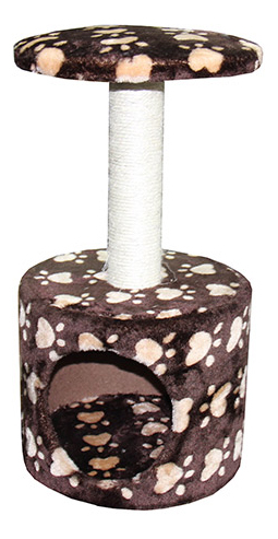 Домик для кошек MAJOR Домик Лапы, бежево-коричневый, 30х30х57 см фото