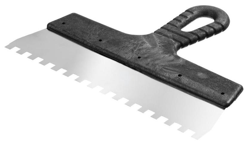 Шпатель фасадный нержавеющий зубчатый FIT 250 мм зуб 8 мм 06638
