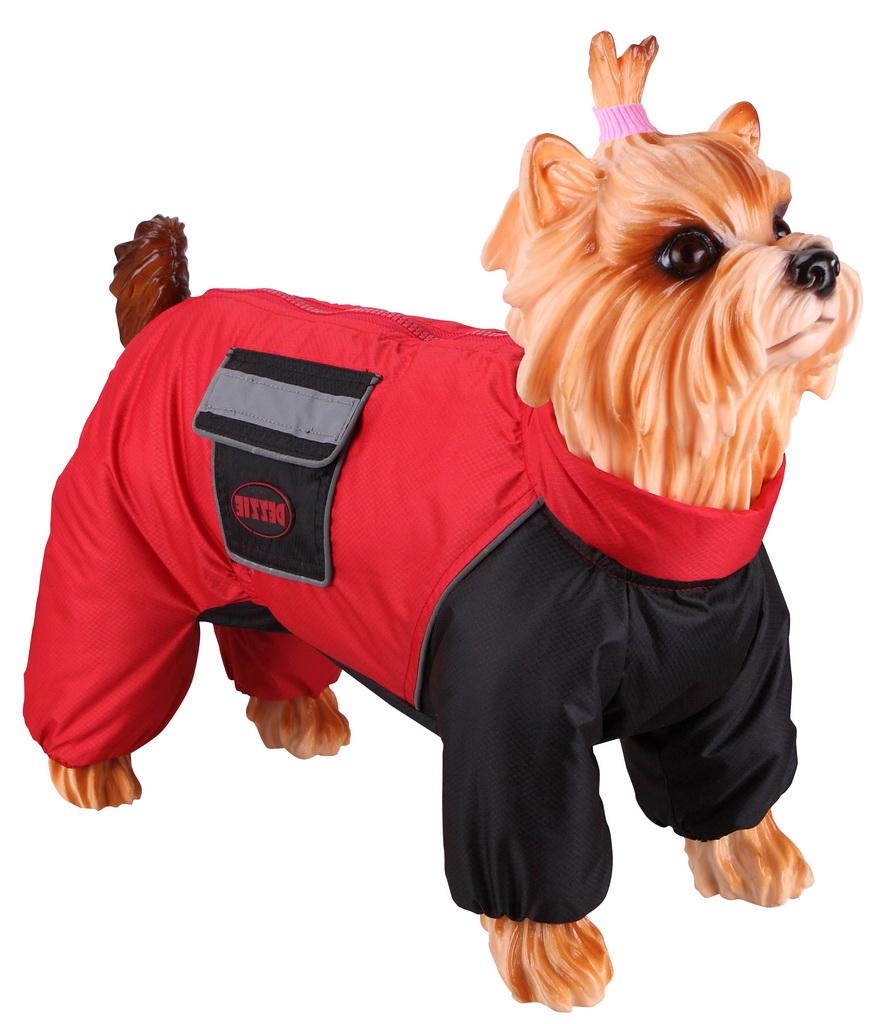 Комбинезон для собак DEZZIE размер XL женский, красный, черный, длина спины 40 см