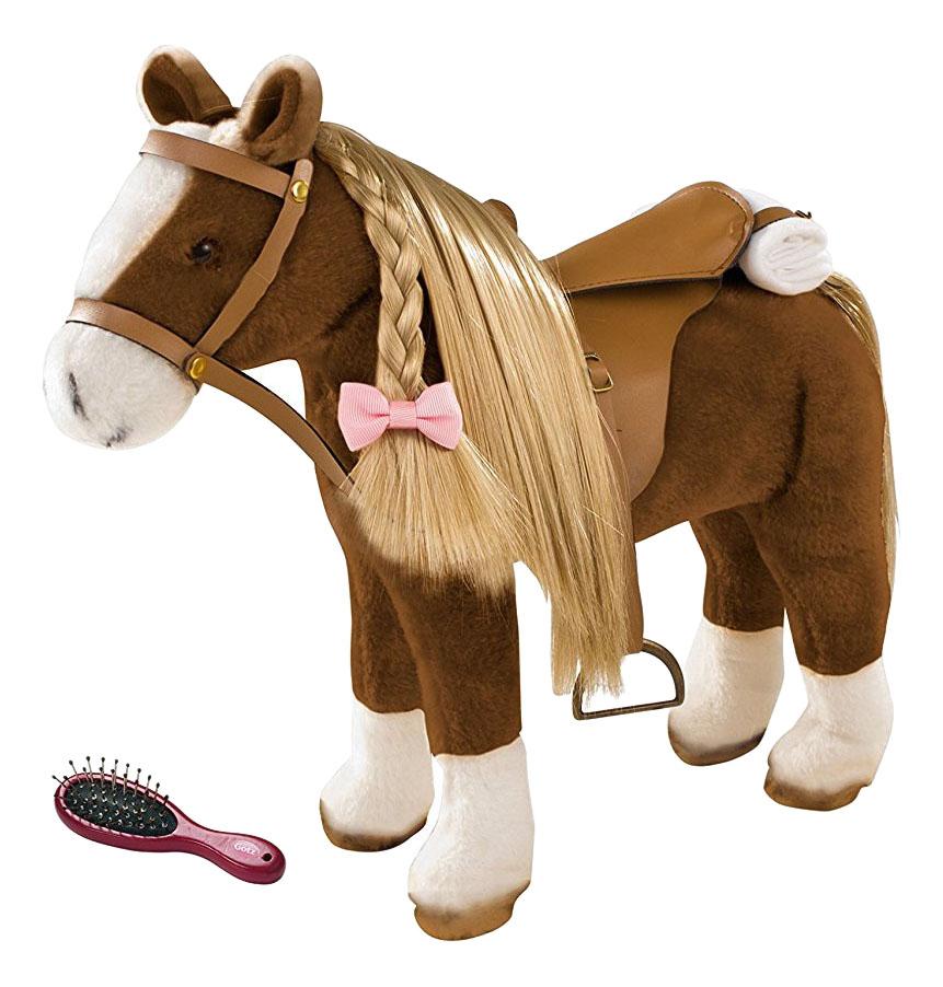 Купить Коричневая лошадь, Мягкая игрушка Gotz коричневая лошадь с расческой 50 см 3402375, Мягкие игрушки животные