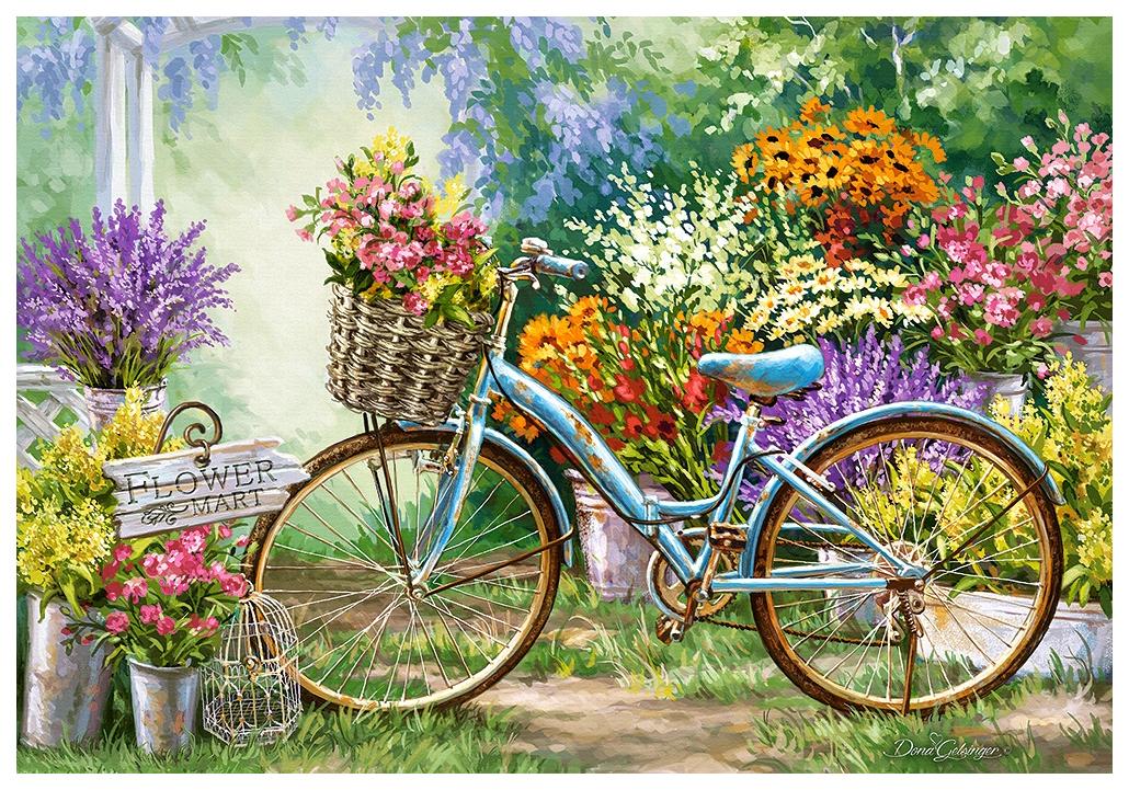 Купить Цветочный марш, Пазл Кастор велосипед 1000 деталей,